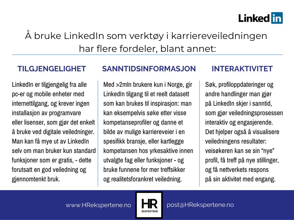 Fordeler ved å bruke LinkedIn som verktøy i karriereveiledningen HR EKSPERTENE